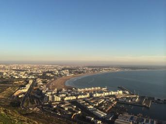 View of resort lined beach in Agadir