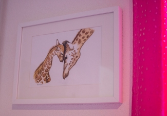 Watercolor Mama and baby giraffs.
