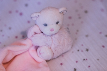 A very cute plush toy and aden + anais bedding .